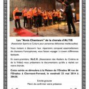 Réalisation d'un documentaire: Chorale de l'Association ALTIS 🗓